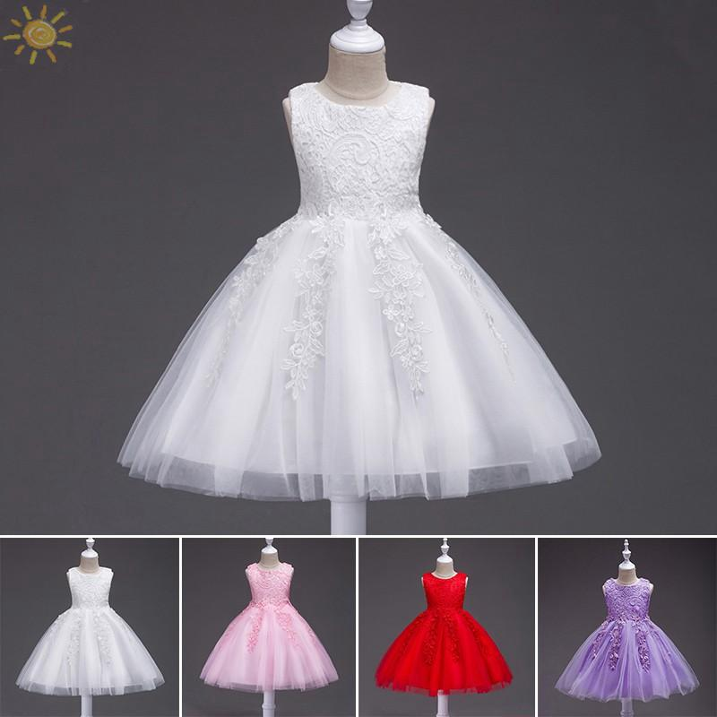 1c826e7a8f219 ☀Flower Girl Wedding Dress Gown Tulle Tutu for Baby Kids