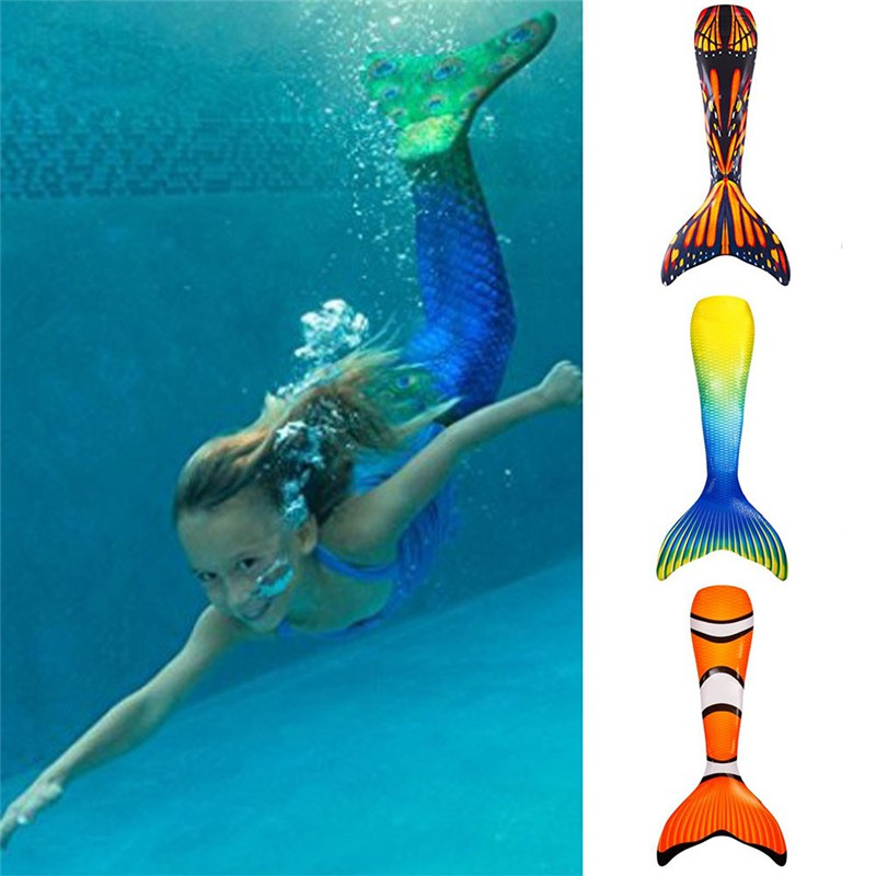 Womens Girls Kids Swimmable Mermaid Tail With Monofin Swimming Flippers Costumes