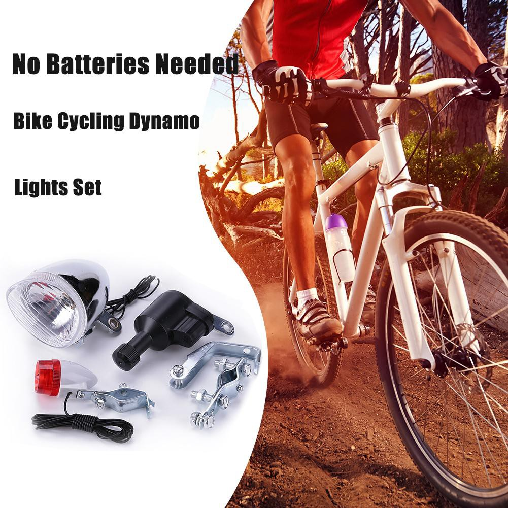 Bike Bicycle Cycling Dynamo Lights Set Safety Headlight Rearlight LED Lamp 6V 3W
