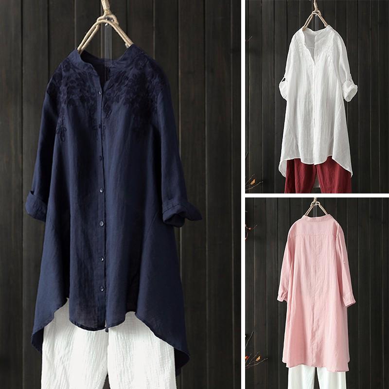 Vintage Women Long Shirt Loose Casual Cotton Baggy Plus Size White Blouse Retro