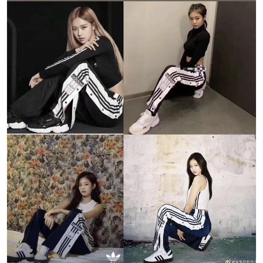 Es barato Oblongo Habitual  Blackpink jennie rose style Adidas Korean Women Pants Plus Size Sports Wide  Leg Pants Loose Sport Pants & Sweatpants | Shopee Philippines