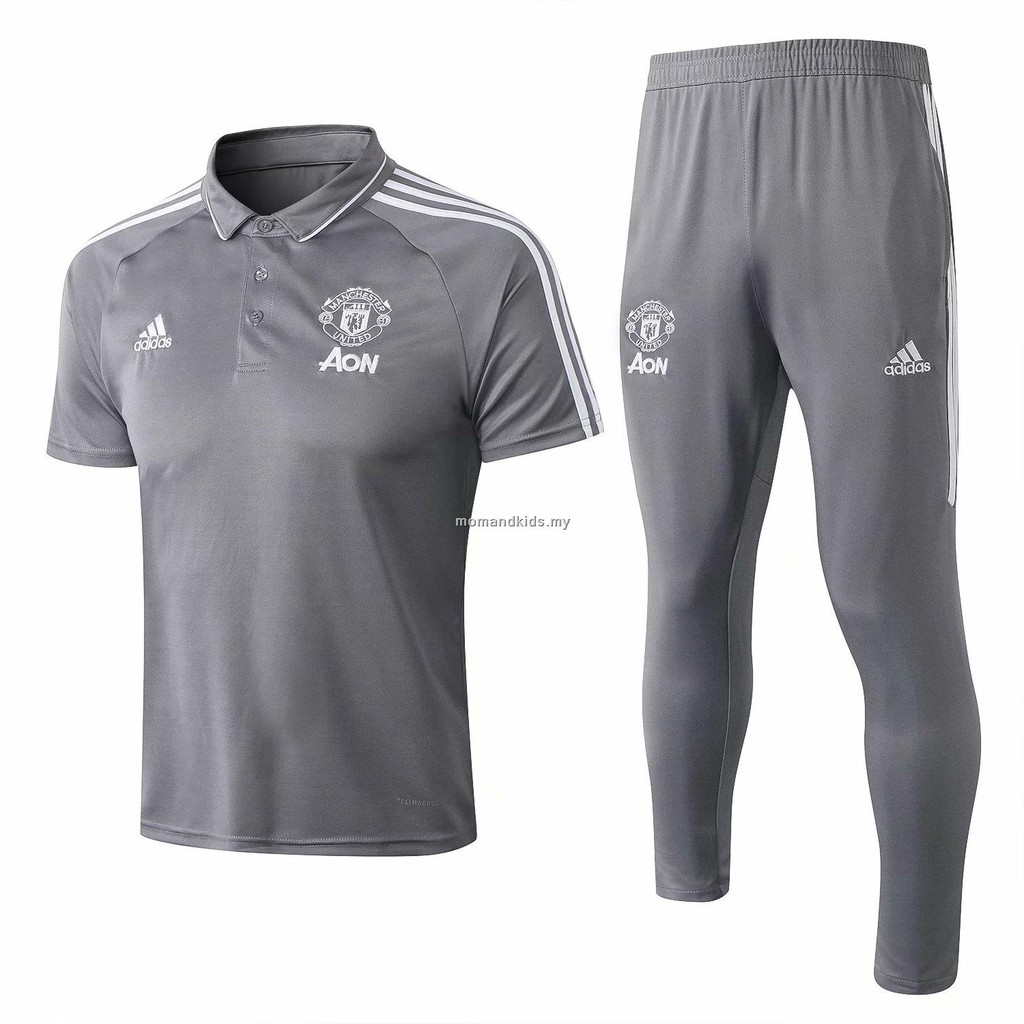 new product 72525 c47e6 Manchester United grey short sleeve polo shirt+trousers men's sportwear18/19