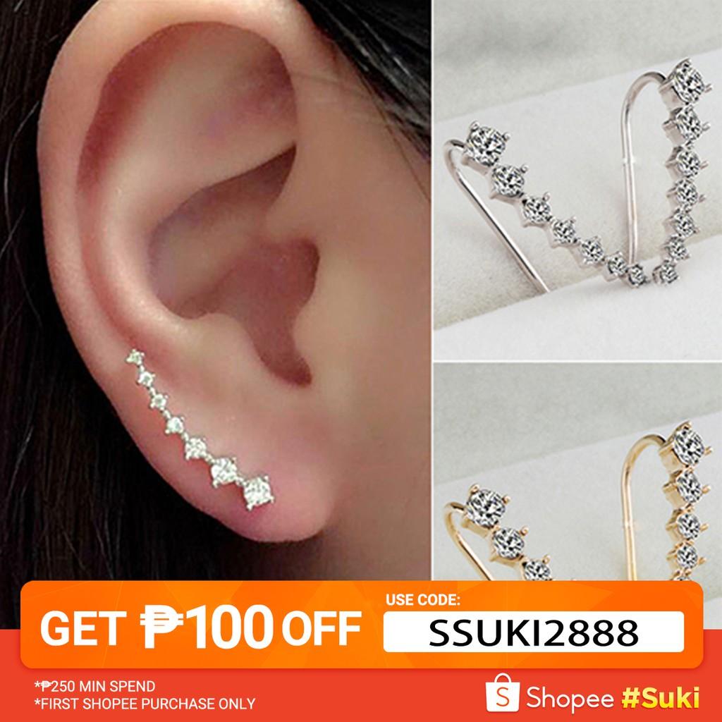 e2615974c No Piercing Clip Crystal Magnetic Ear Studs Men Earrings | Shopee  Philippines