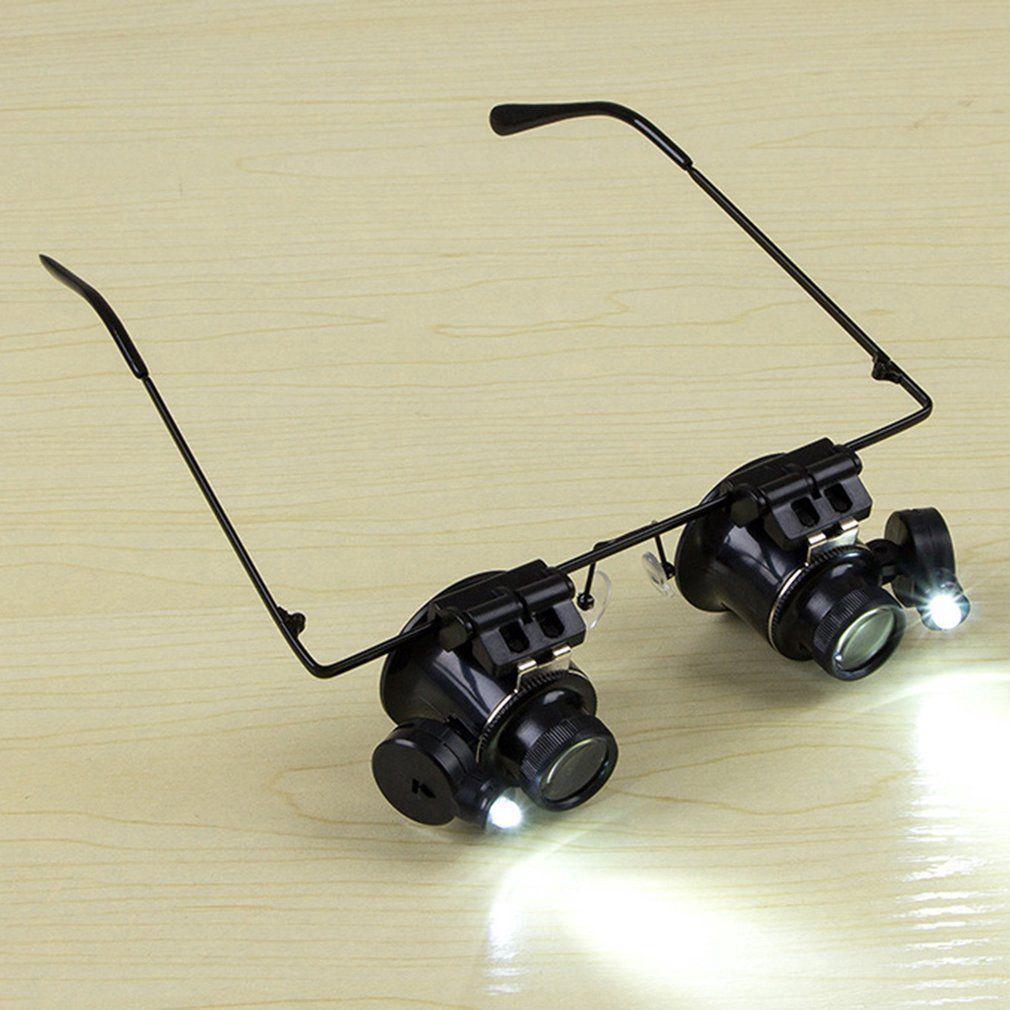 Glasses Binocular Magnifier Watch Repair Tool LED Lights For