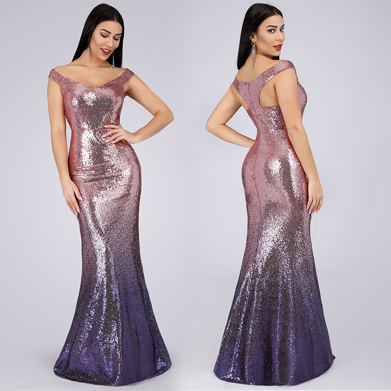 Long Sequin Dresses Dinner Party Formal Gown Maxi Dress 9998 Shopee Philippines