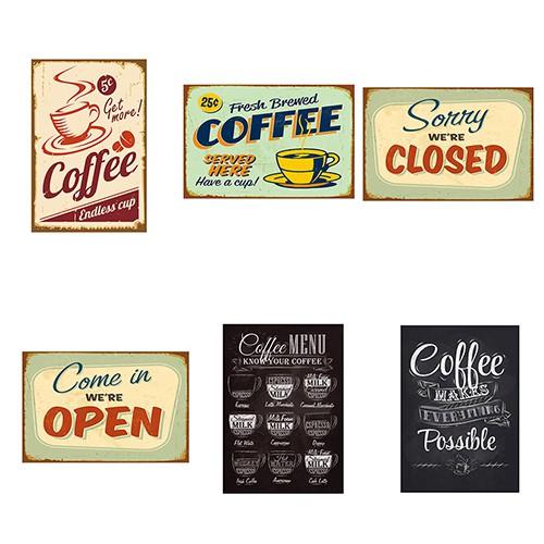 METAL VINTAGE SHABBY-CHIC TIN FRESH BREWED COFFEE PLAQUE//FRIDGE MAGNET