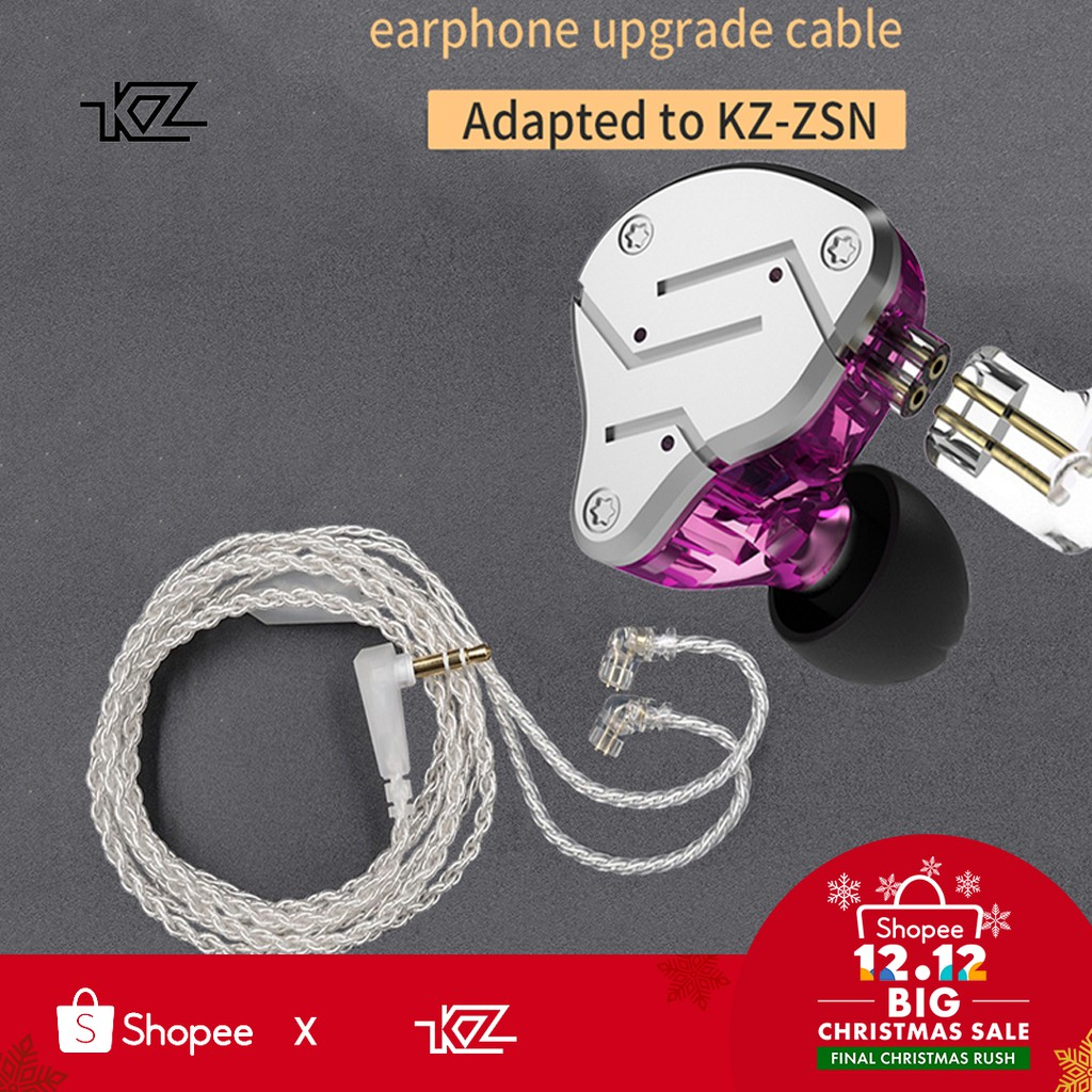 Kz Zsn Plated Silver Cable 3.5mm Plug With 2pin Connector Hand Made Kz Zsn Dedicated Earphone Upgrade Cable Only Use For Kz Zsn 2019 Official Earphone Accessories Consumer Electronics