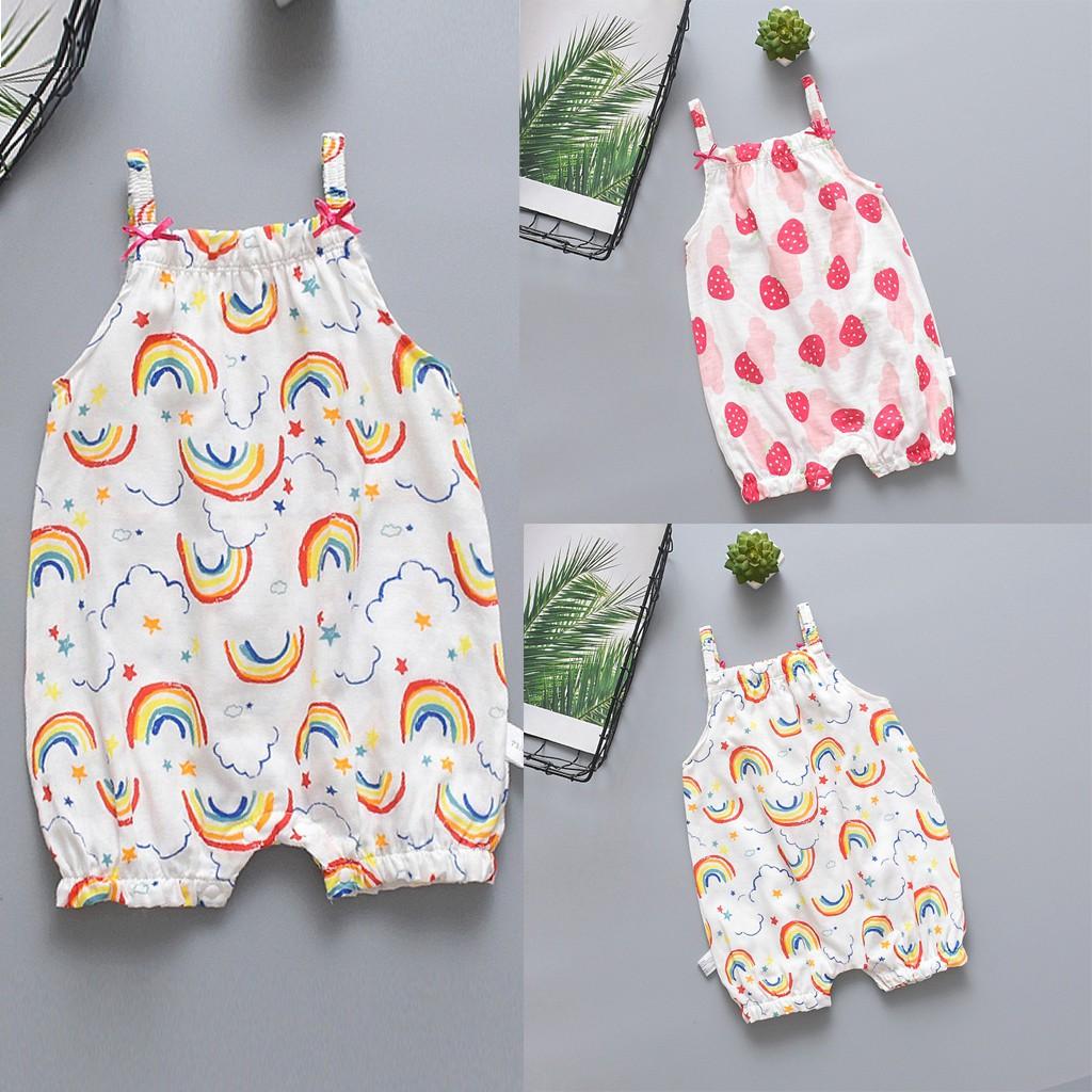 Newborn Baby Boys Girls Sleeveless Jumpsuit Rainbow Strawberry Print Rompers