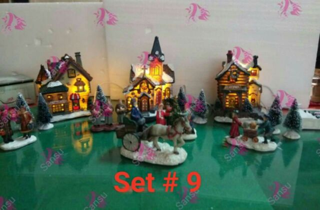Free Battery Christmas Village With Horse Design
