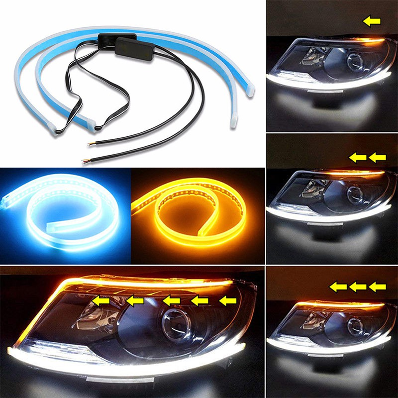 2Pcs Color Switchback Headlight White//Yellow LED Strip Tube DRL Sequential 60cm