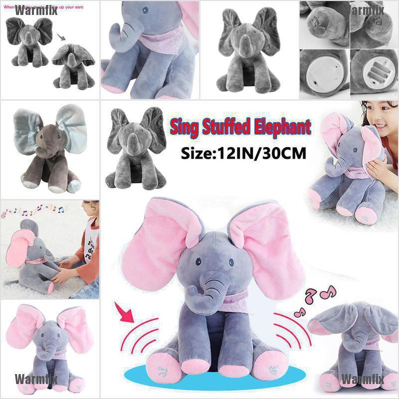 Peek-a-boo Elephant Baby Plush Toy Talking Singing Stuffed Kids Music Cute Doll