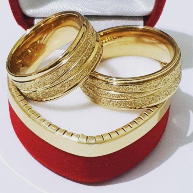 Tyshirts Couple Ring Glitters 18k Gold Plated Thick Wedding Couple Ring Sandblasted W Freebie Shopee Philippines