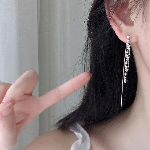 1 Pair Creative Chic Rhinestone-Studded Mermaid Tail Dangle Earrings Ear Jewelry