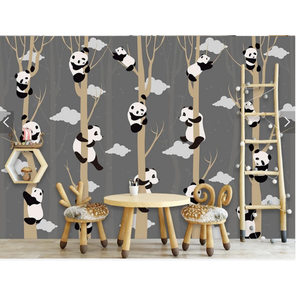 Wallpaper Mural Cartoon Panda Background Wall Decoration Sticker Can Be Customized