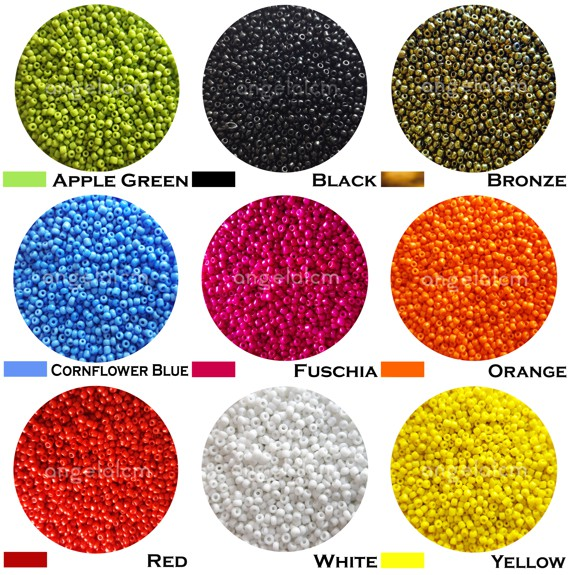 Approx 2mm and 1000 pcs glass seed beads bunch of 12 strands