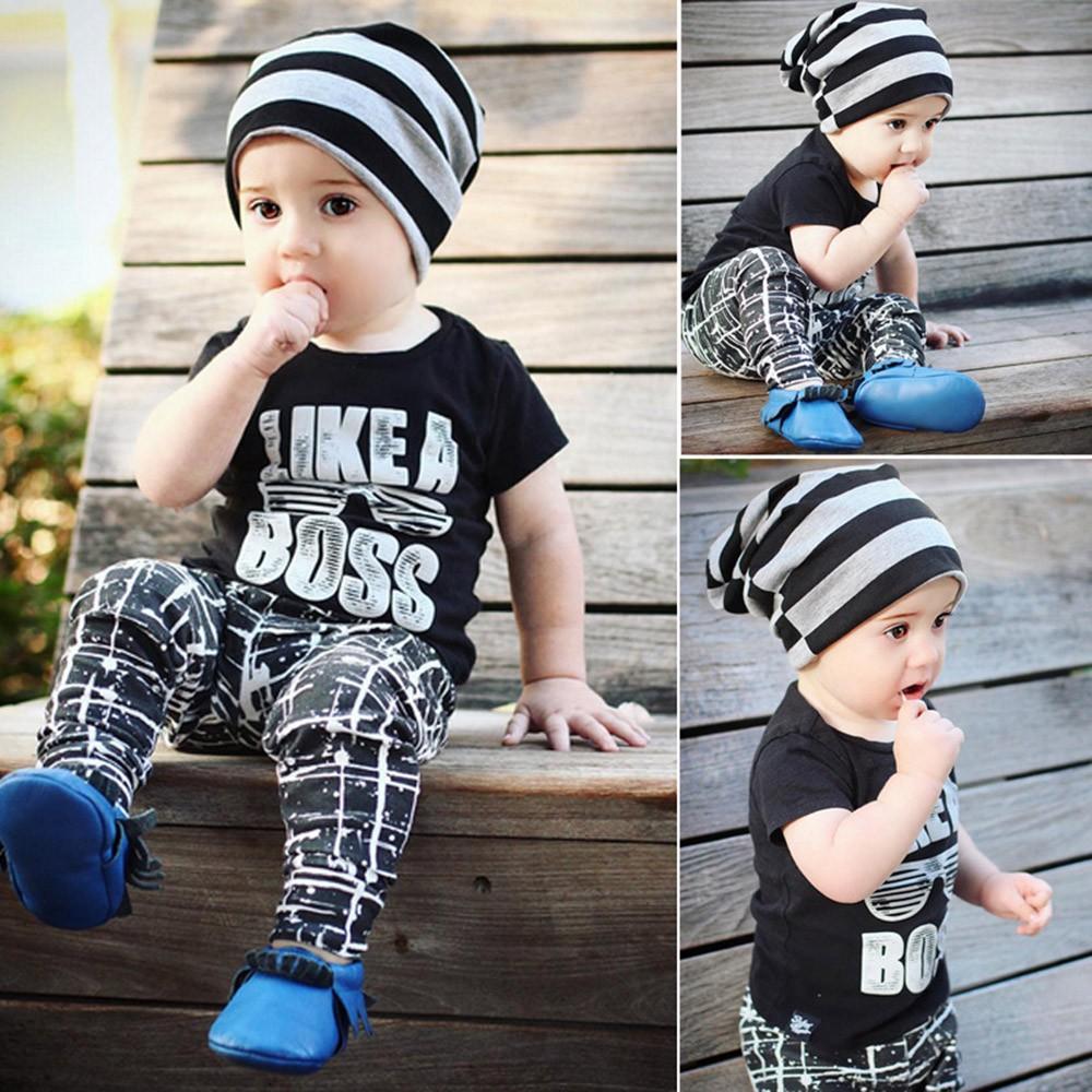 eb2b7152a129 2PCS Baby Boy Letter T shirt Tops Pants Outfits Clothes Set