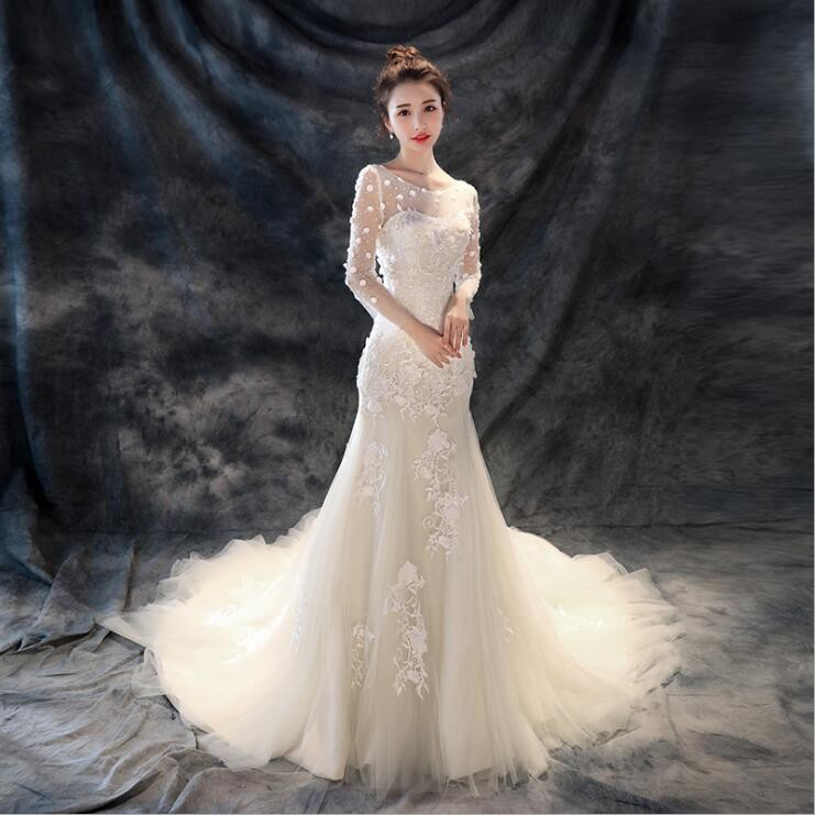 Elegant Women Round Collar Lace Embroidery Slim Fit Mermaid Long Tail Wedding Gown Party Dress Shopee Philippines,Wedding Long Beautiful Dresses For Girls