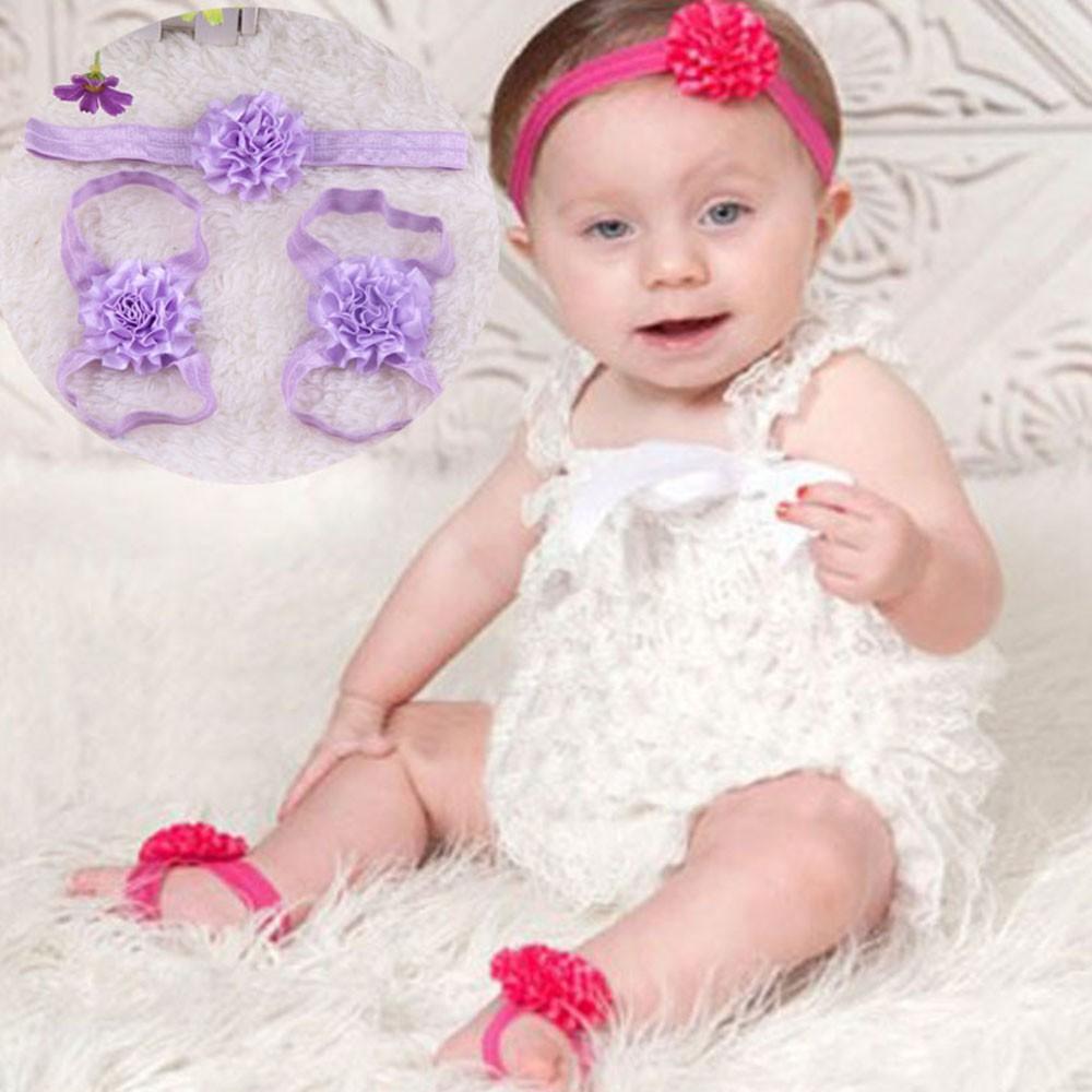 Cute Newborn Infants Accessories Baby Head Flower Foot Flowers Headband