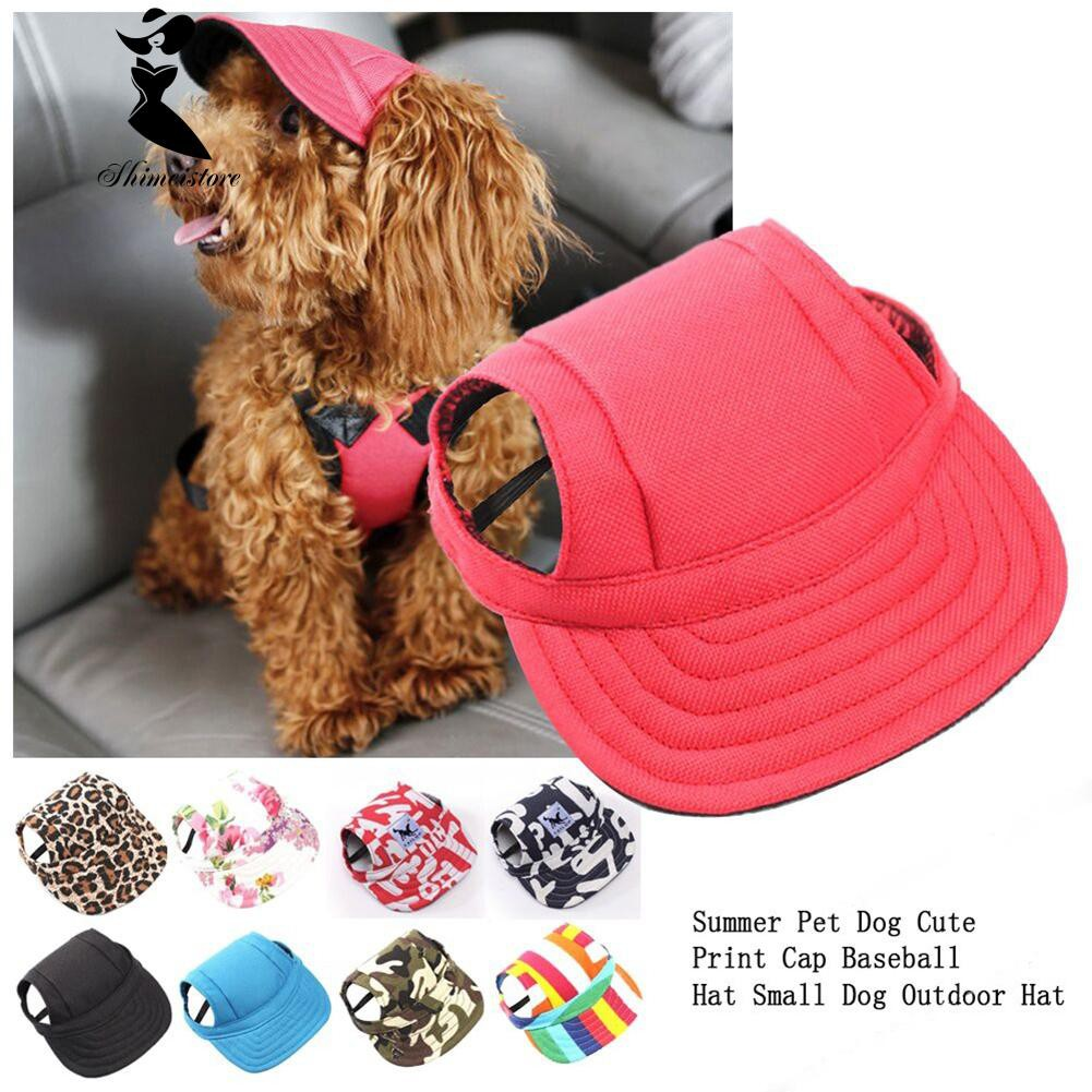 6766d117319 Pet Dog Sun Protect Hat Baseball Canvas Cap Hat Ear Holes