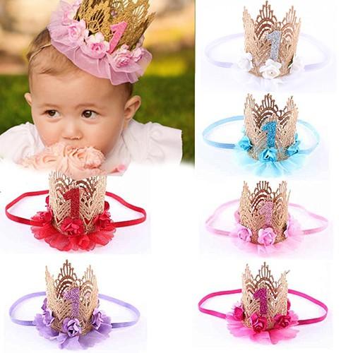 Baby Pearl Girl Princess Queen Crown Headband Lace Headwear Tiara Hair Band