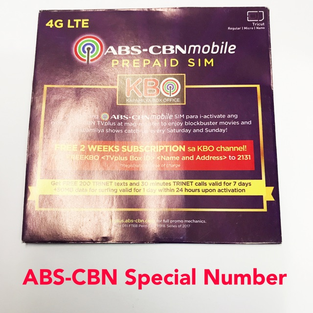 ABS-CBN LTE 4G Special Number