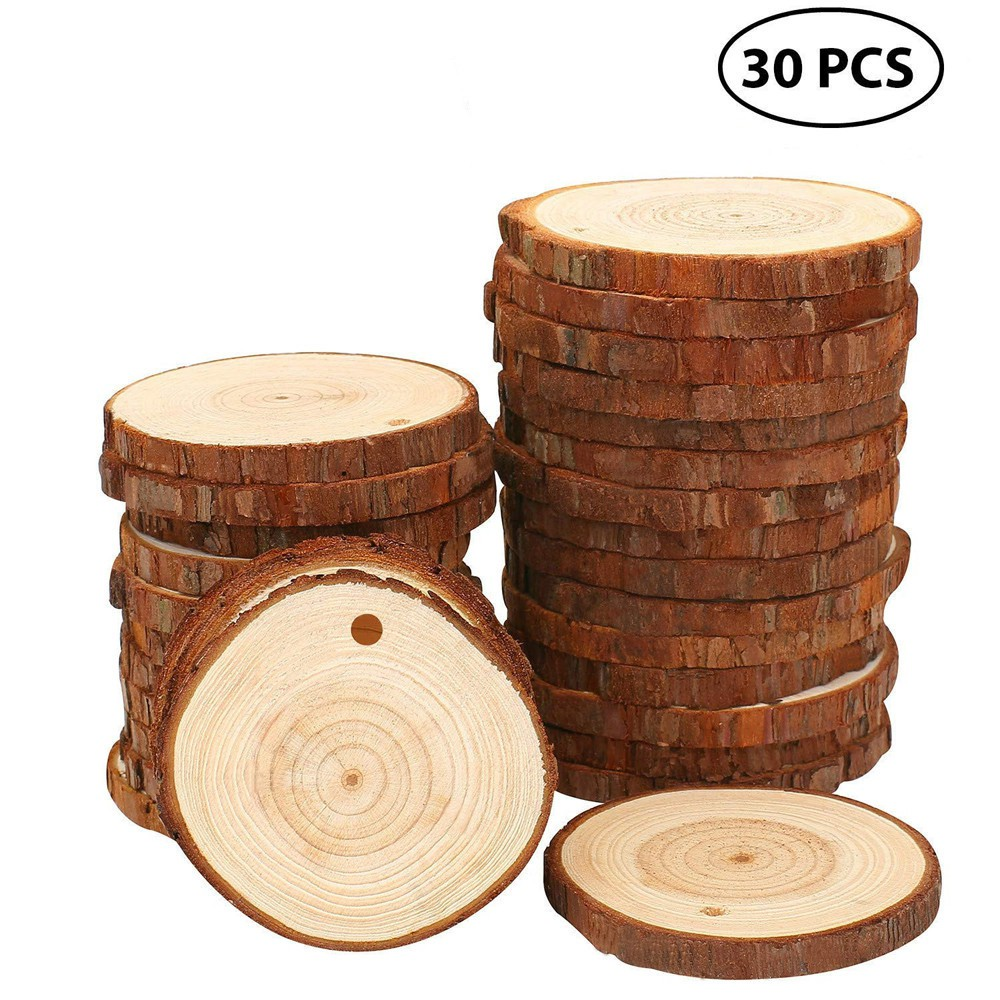 Wood Slices 30 Pcs Craft Wood Kit Unfinished Predrilled With Hole Wooden Circles