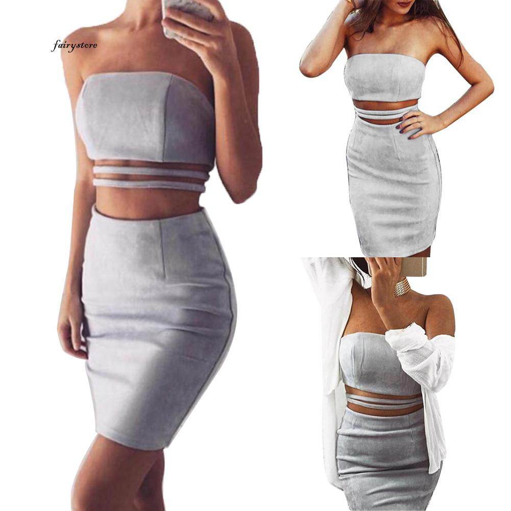 80fd8f7ba ProductImage. ProductImage. FSP_Women Solid Color Strapless Crop Top High  Waist Bodycon Midi Skirt Two-piece Set