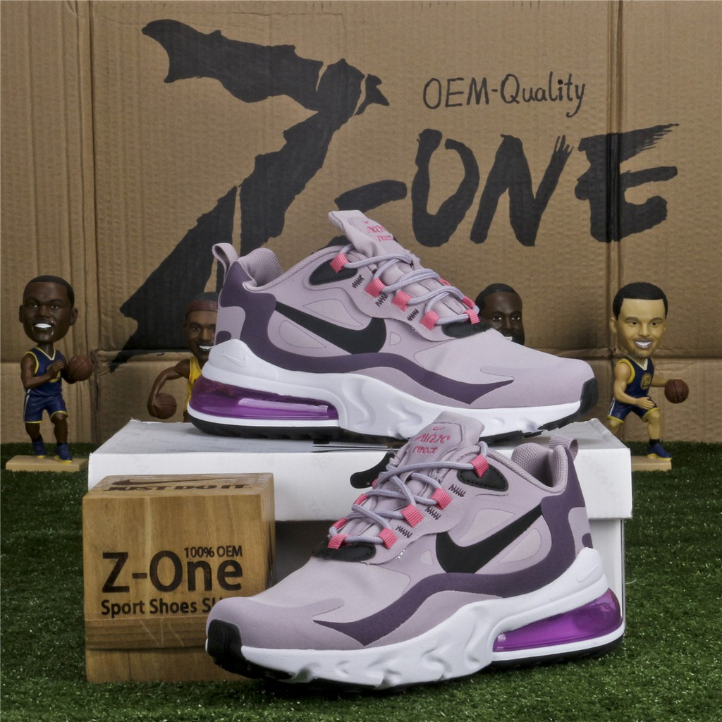Nike Air Max 270 React Running Shoes For Women Pink Purple Black