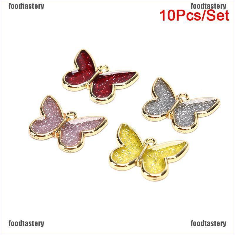 10pcs Blue Enamel Cute Butterfly Charms Pendants DIY Necklace Earrings Jewelry
