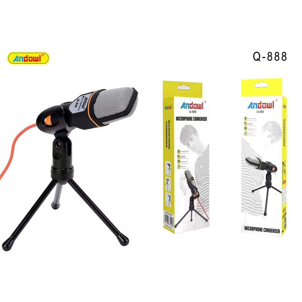 Andowl Wired Microphone Q888 Audio 3.5mm Recording KTV Karaoke with Desktop  Stand | Shopee Philippines