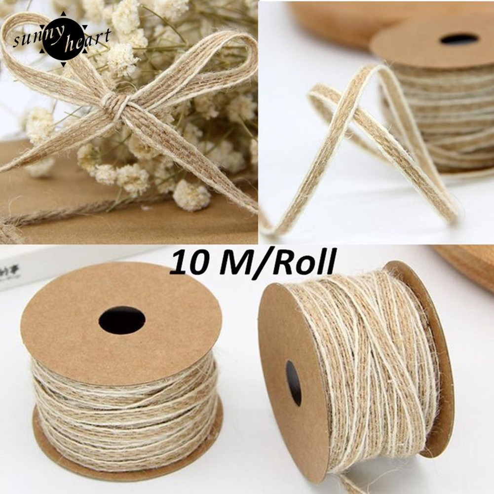5M Natural Hessian Jute Twine Rope Burlap Ribbon Craft Vintage Wedding Party、Fad