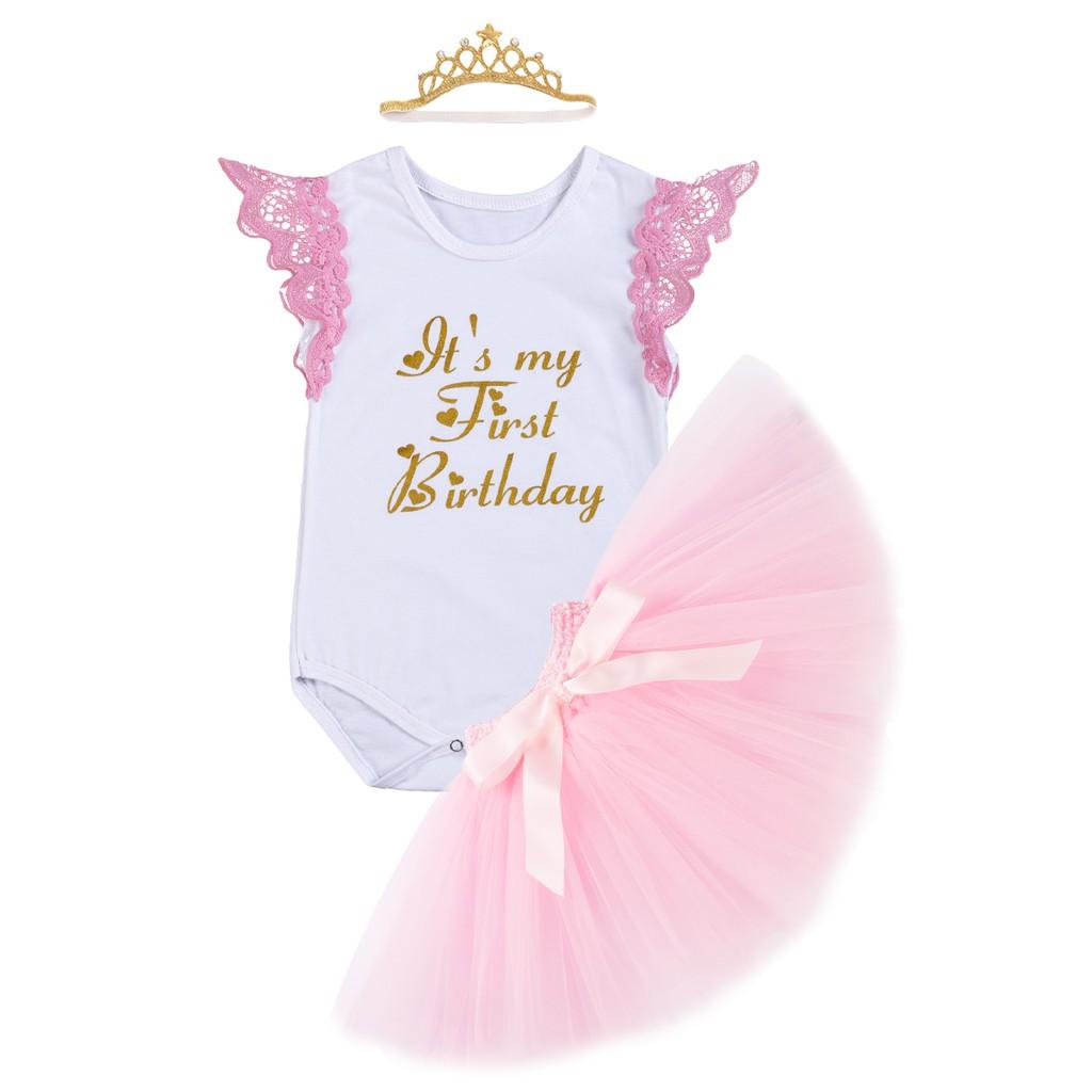 7eb9902a08a3 Baby Girls 1st Birthday Romper Tutu Skirt Headband Outfits | Shopee  Philippines