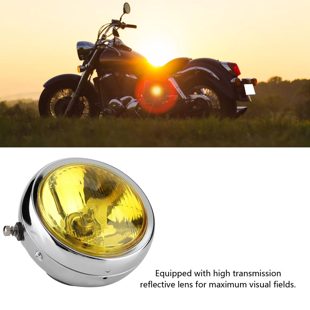 Qiilu Motorcycle Headlight Universal Motorcycle Retro Silver Shell White Lens Headlamp Front Headlight for GN125