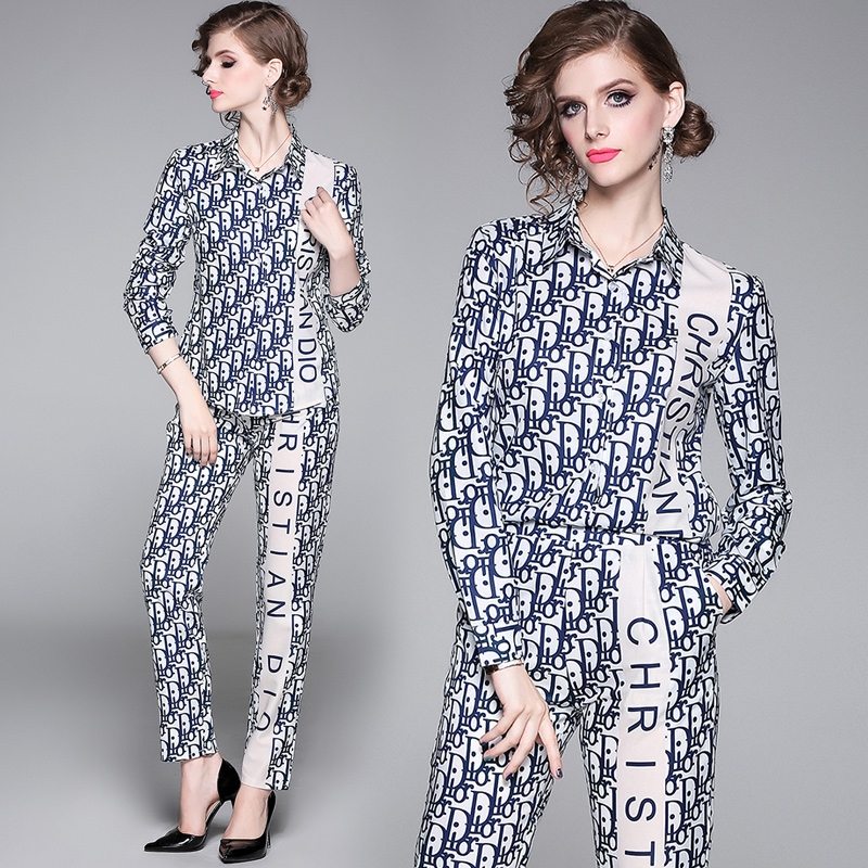 Runway Women's Suit Sets Pullover Top and Casual Vintage Floral Print Pants  Suit Two-Pieces Set | Shopee Philippines