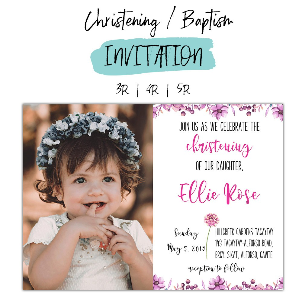 Christening Baptism Invitation Card Floral Theme