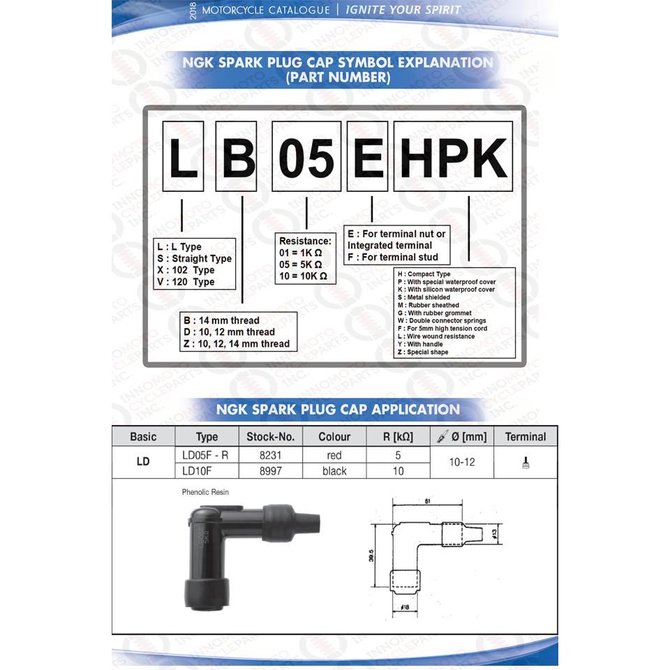 NGK Spark Plug Cap Elbow Type Resistor Cover 2 PACK LD05F