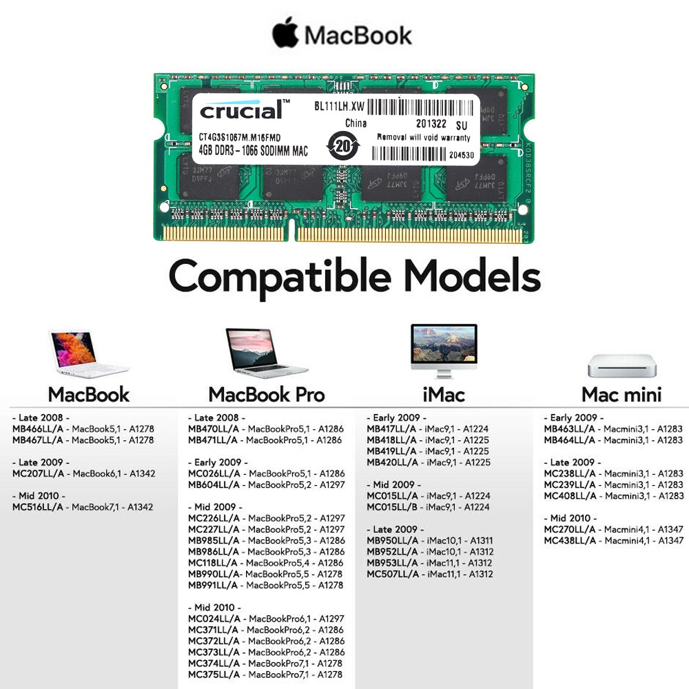 4GB Module PC3-8500 DDR3-1066MHz SODIMM Memory For Apple New