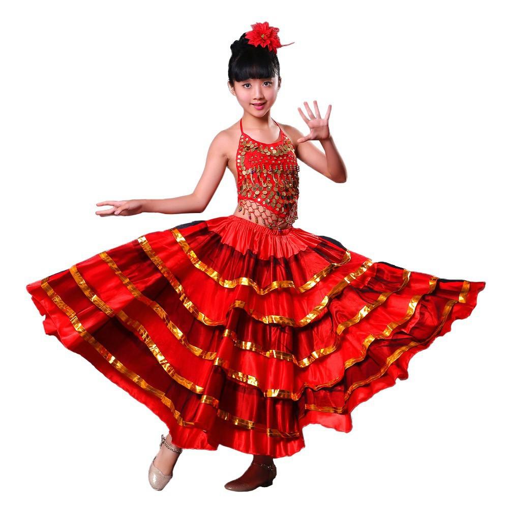 fbff562aee1411 Girls Red Belly Dance Dress Spanish Flamenco Skirt