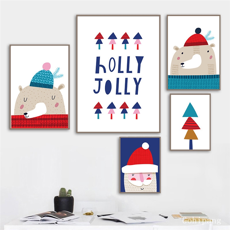 Cartoon Christmas Cute Nordic Canvas Painting Sweet Modern Picture Wall Art Poster Kit Bedroom Living Room Home Decor Shopee Philippines