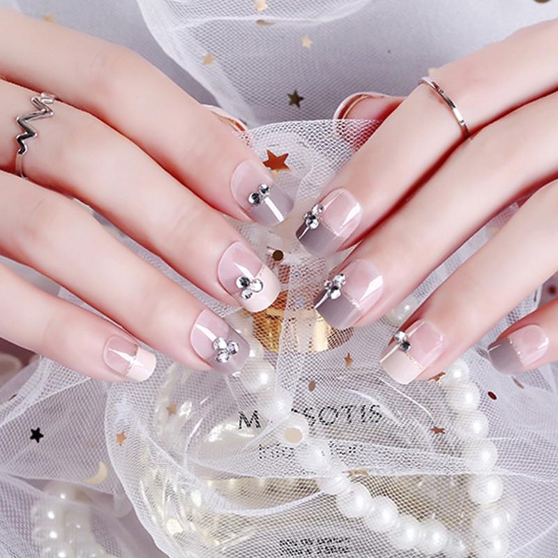 24pcs Light Gray Pink Fake Nails Short False Nail Art