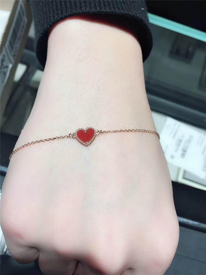 10 mm one butterfly clover bracelet 925 silver 18 K Rose  gold plated four leaf clover single bracelet