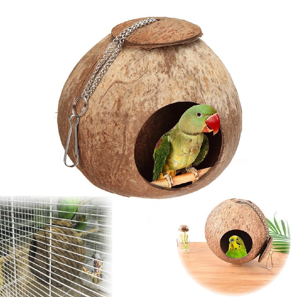 Natural Parrot Nest Coconut Shell House Cage Feeder Parakeet Birds Hamster Toys