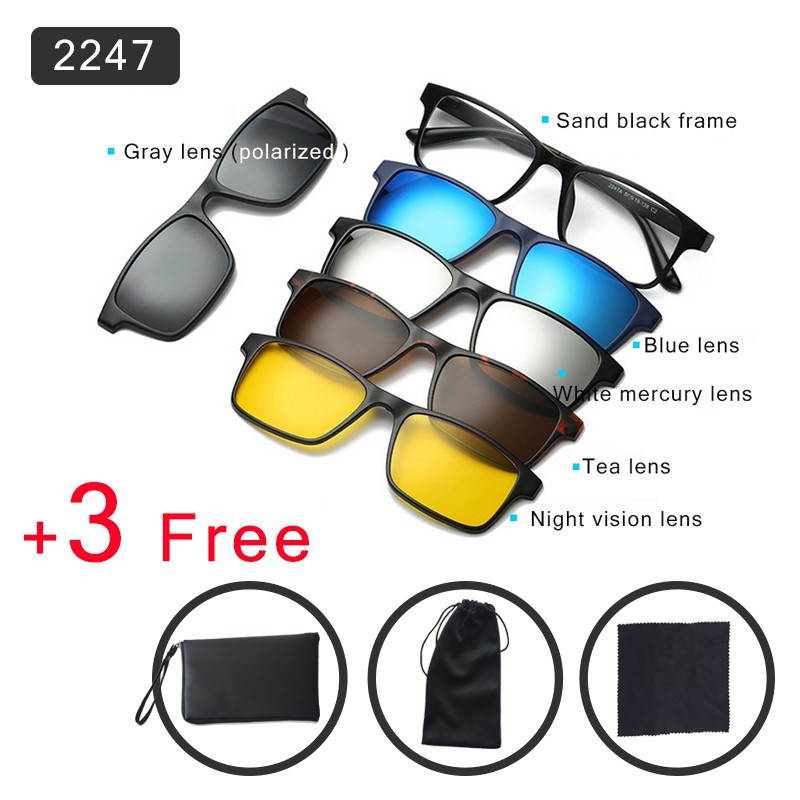 a7efabf44f8 BS The new TR90 frame Polarized sunglasses with Magnetic Clip on Sunglasses
