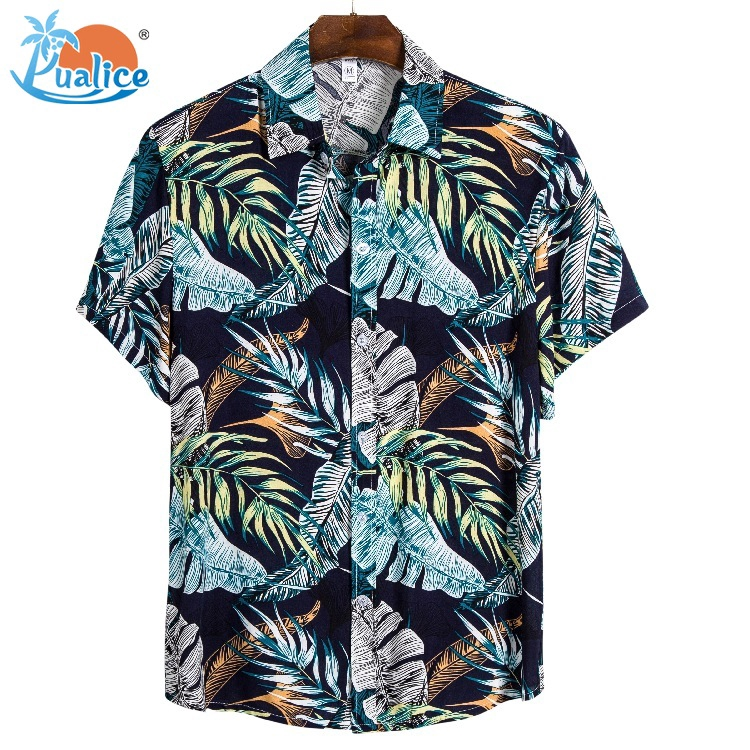 Men Beach Tropical Summer New Short Sleeves of Beach Wind Printing Casual Loose Cotton Short Sleeve Top
