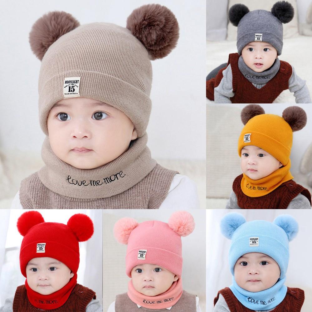 017b30bf0d845 2 piece  set Hat Scarf Baby Cap Cute Rabbit Knit Hats