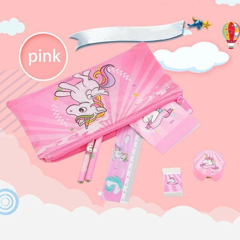 Unicorn Pencil Case Kids Boys Girls Stationery Cartoon Pouch Ruler Rubber Set