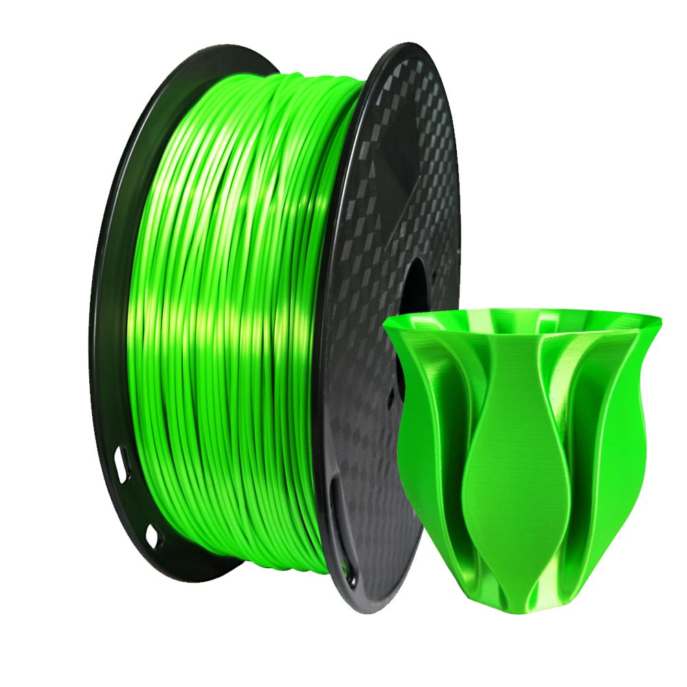 PLA Filament 1 75mm Diameter for 3D Printer - Shiny Metallic Luster Silk  Green - 1kg(2 2LB)