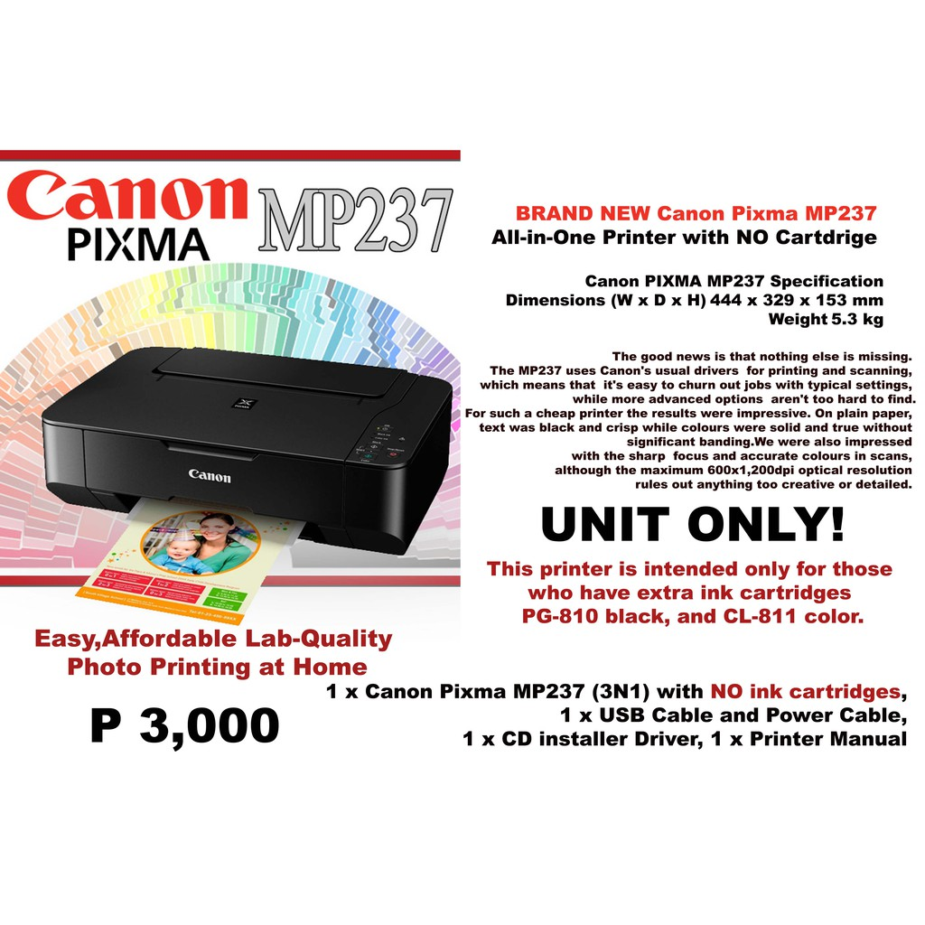 Brand New Canon Pixma Mp237 Printer With No Ink Cartdrige Shopee Cartridge Cl 811 Color Philippines