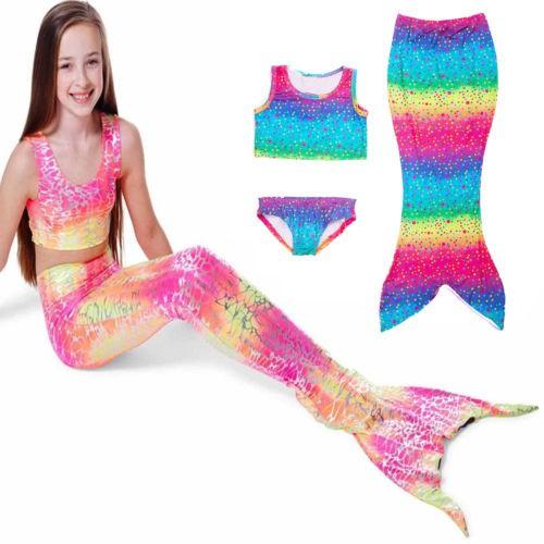 3PCS Kids Girls Mermaid Tail Bikini Swimwear Beach Sets