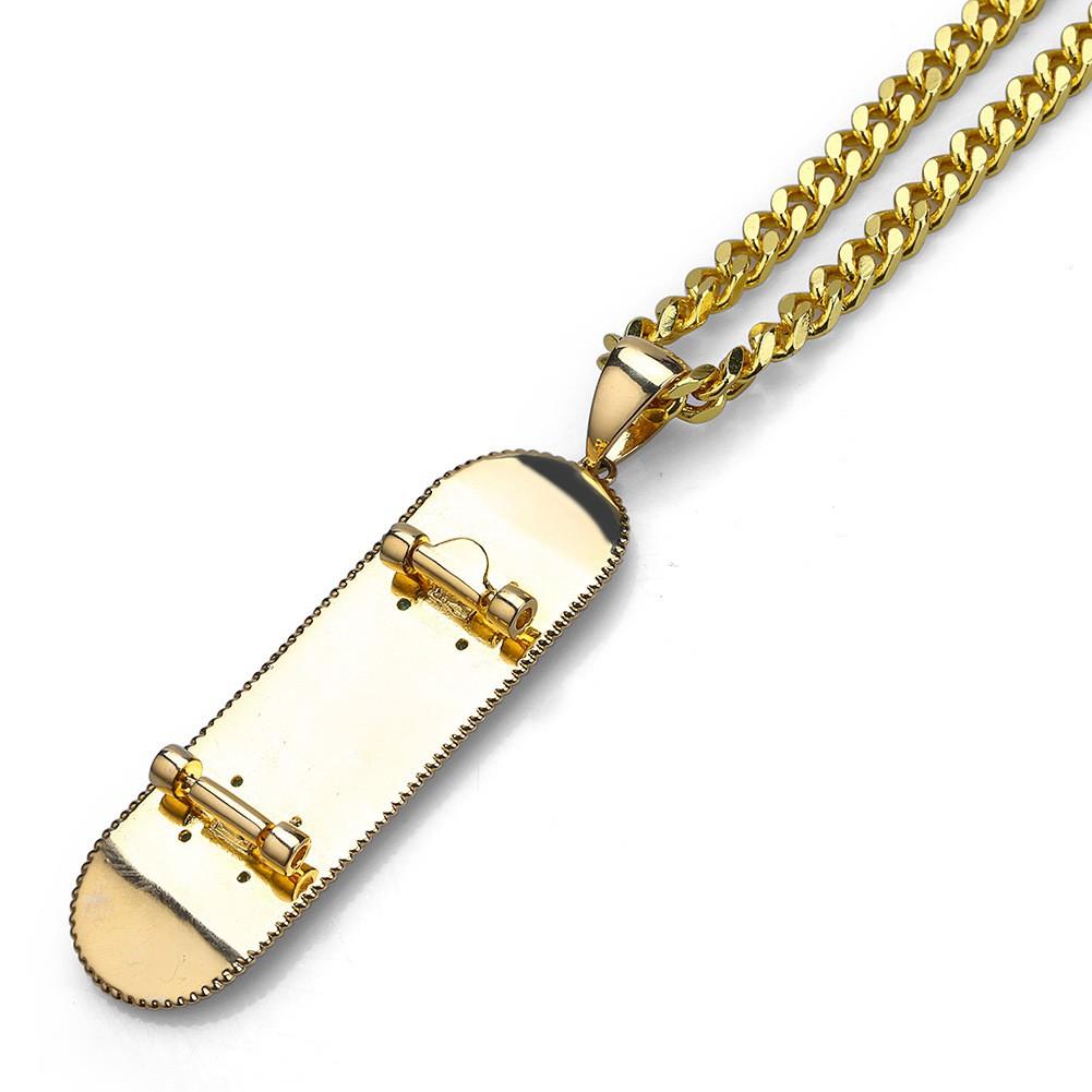 e7c2d2a6a9938 Iced Out Hip Hop CZ Skateboard Pendant Cuban Chain Necklace | Shopee ...